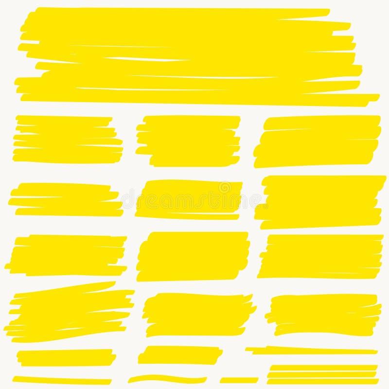 La ligne jaune de marqueur de point culminant, course de couleur, stylo de brosse de barre de mise en valeur tir? par la main sou illustration libre de droits