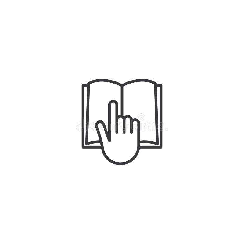 La ligne les explorent, réservent avec l'icône de main sur le fond blanc illustration stock