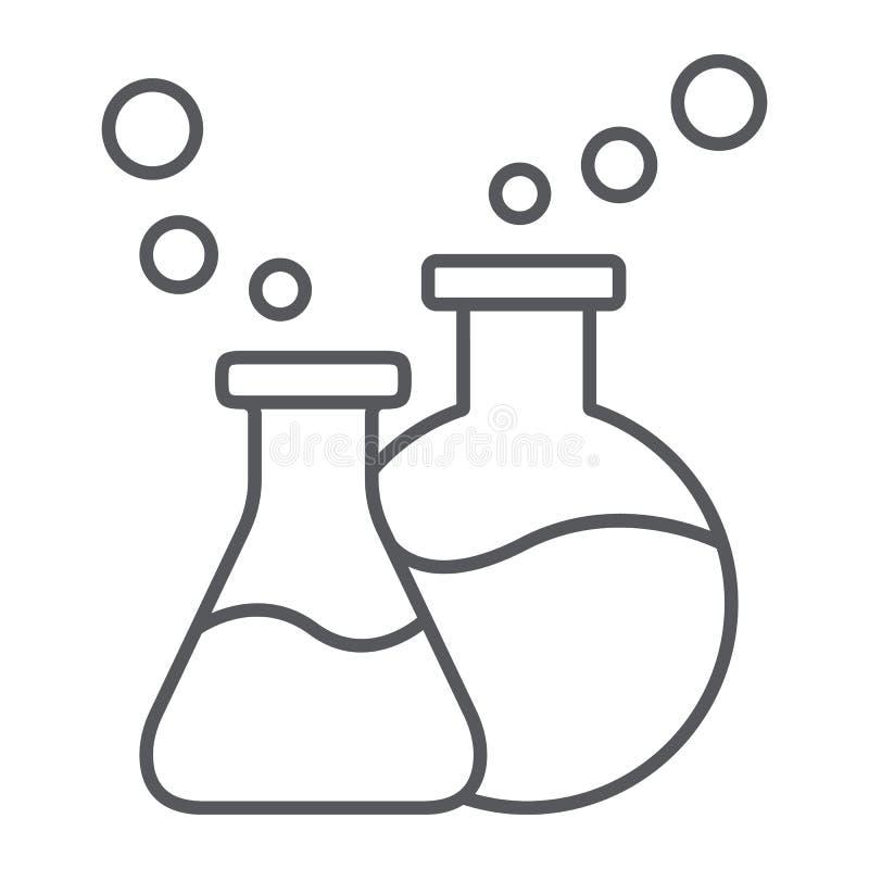 La ligne mince de verrerie de laboratoire icône, science et laboratoire, les flacons chimiques signent, les graphiques de vecteur illustration libre de droits