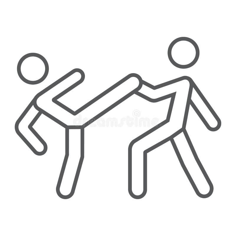 La ligne mince du Taekwondo icône, sport et martial, des combattants signent, dirigent les graphiques, un modèle linéaire sur un  illustration de vecteur