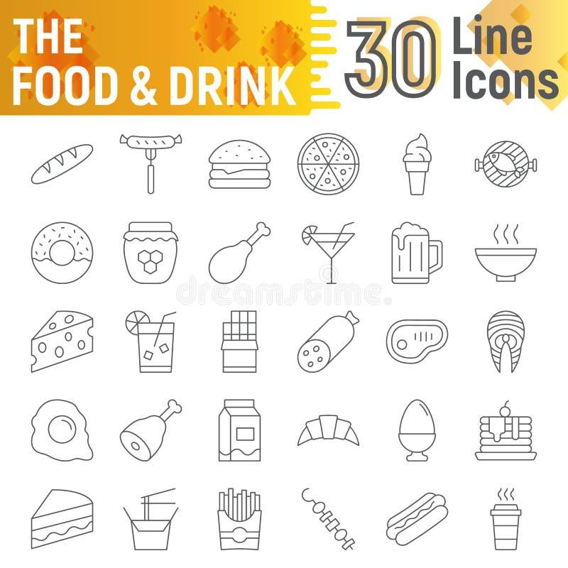 La ligne mince ensemble d'icône, symboles collection, croquis de vecteur, illustrations de logo, boisson de nourriture et de bois illustration libre de droits