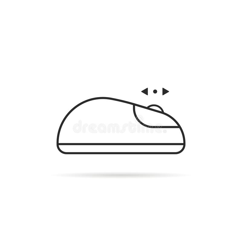 La ligne mince et font descendre l'écran l'icône de souris d'ordinateur illustration de vecteur