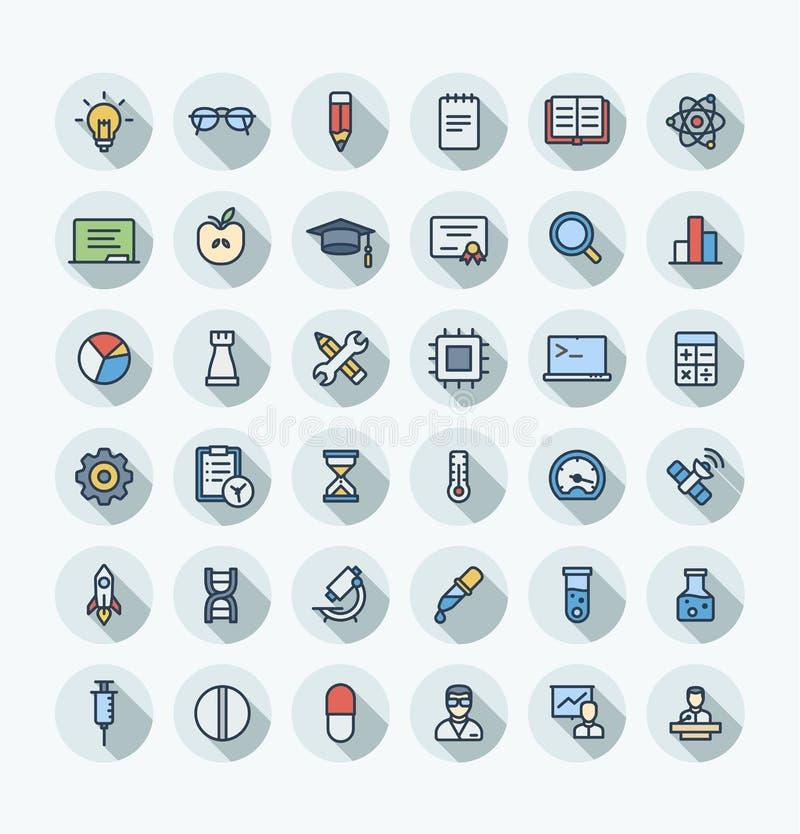 La ligne mince icônes de couleur plate de vecteur a placé avec des symboles d'ensemble de recherches de la science et de laborato illustration libre de droits