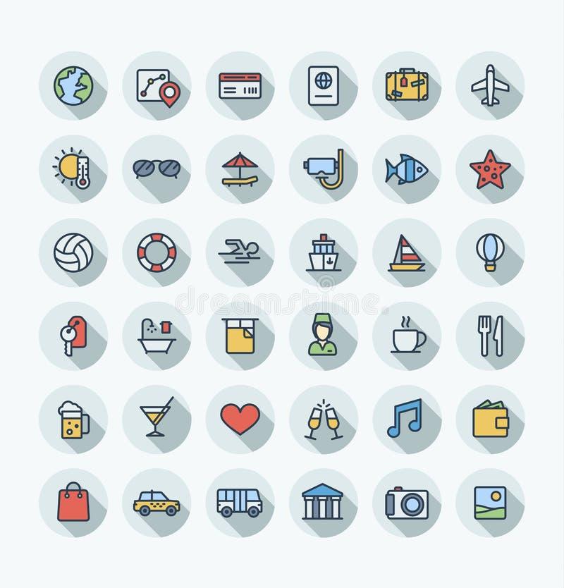 La ligne mince icônes de couleur plate de vecteur a placé avec le voyage, symboles d'ensemble de tourisme Vacances d'été, service illustration libre de droits