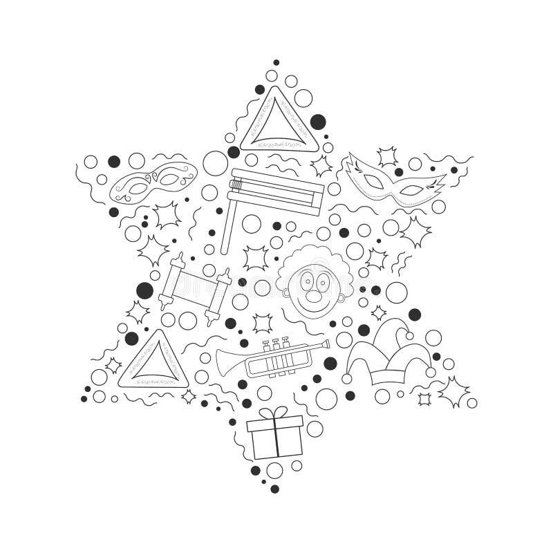 La ligne mince icônes de noir plat de conception de vacances de Purim a placé en étoile de d illustration stock