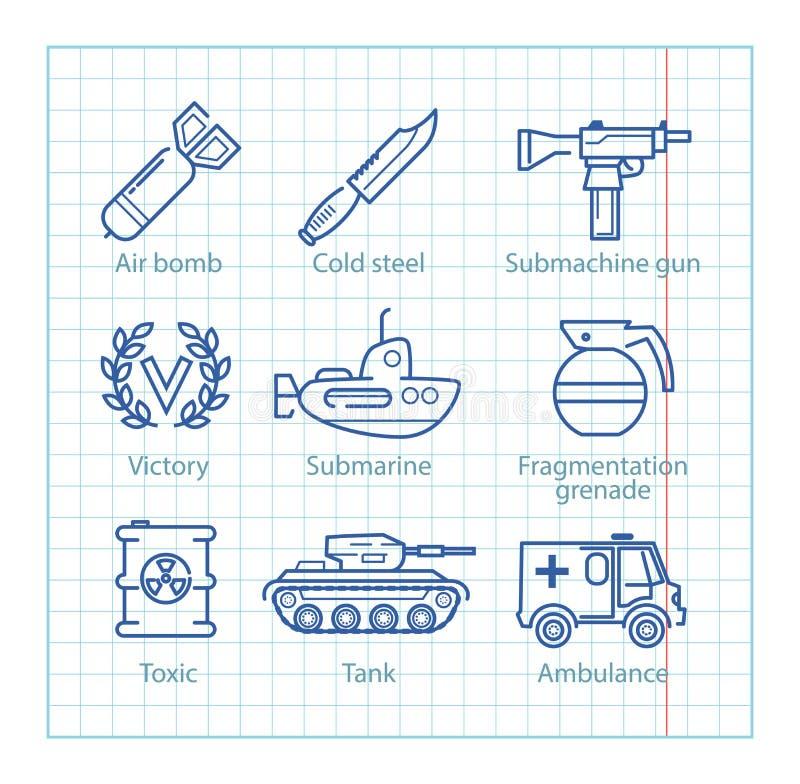 La ligne mince icônes de vecteur a placé pour l'infographics militaire, UX mobile illustration libre de droits
