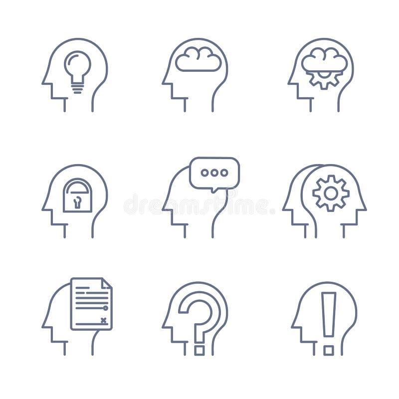 La ligne mince icônes a placé de l'esprit humain, processus de pensée, apprenant Ligne logo illustration libre de droits