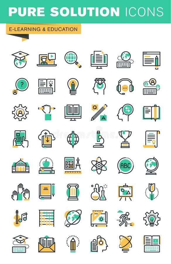 La ligne mince moderne icônes a placé de la formation à distance, en ligne apprenant, des e-livres illustration stock