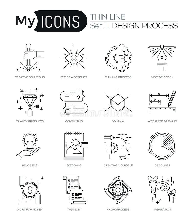 La ligne mince moderne icônes a placé du processus de conception illustration libre de droits