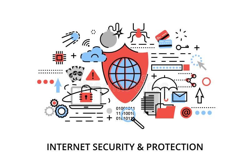 La ligne mince plate moderne illustration de vecteur de conception, concept infographic de sécurité d'Internet, protection de rés illustration libre de droits
