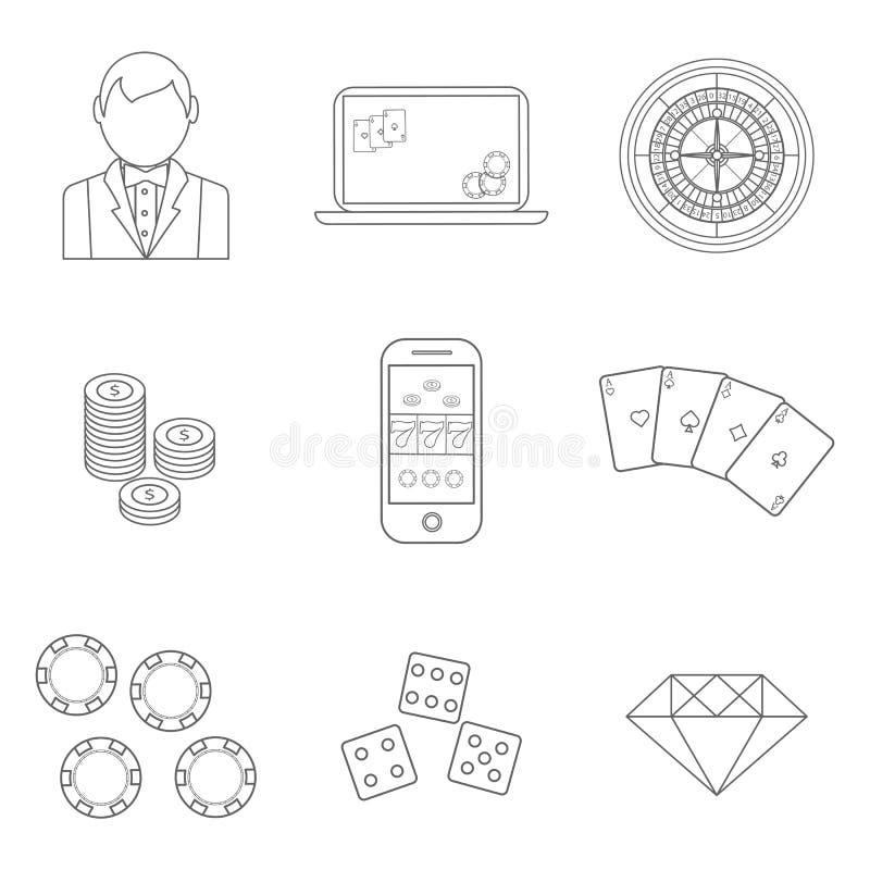 La ligne mince tisonnier ou les icônes de casino placent - dirigez les symboles de jeu illustration libre de droits
