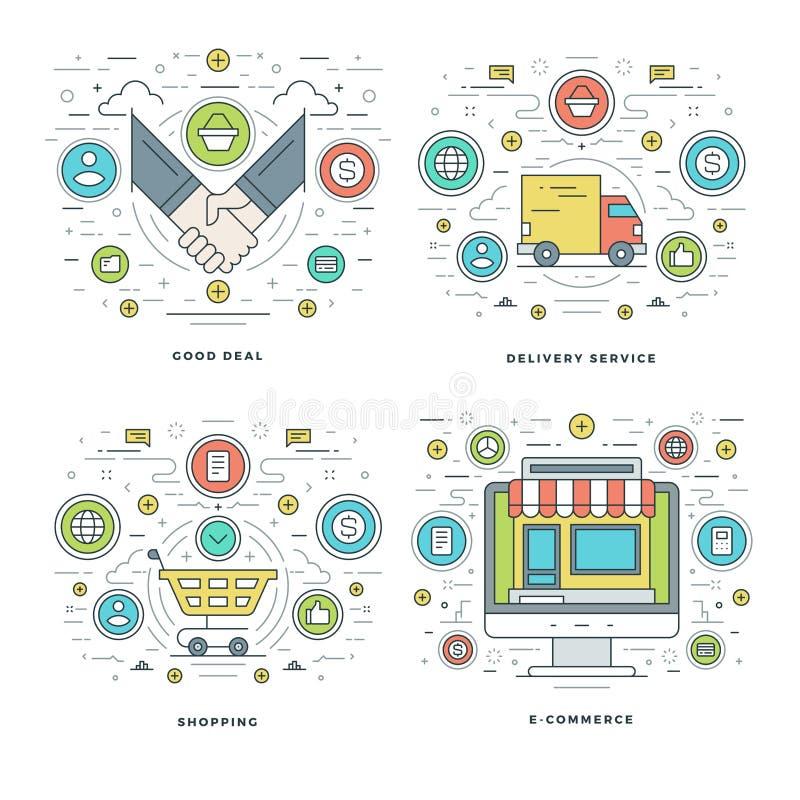 La ligne plate bonne affaire, service de distribution, achats, concepts de commerce d'affaires a placé des illustrations de vecte illustration de vecteur
