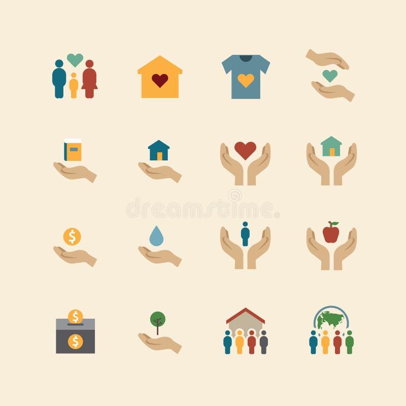 La ligne plate d'icônes de couleur de silhouette de charité et de donation conçoivent le VE illustration libre de droits