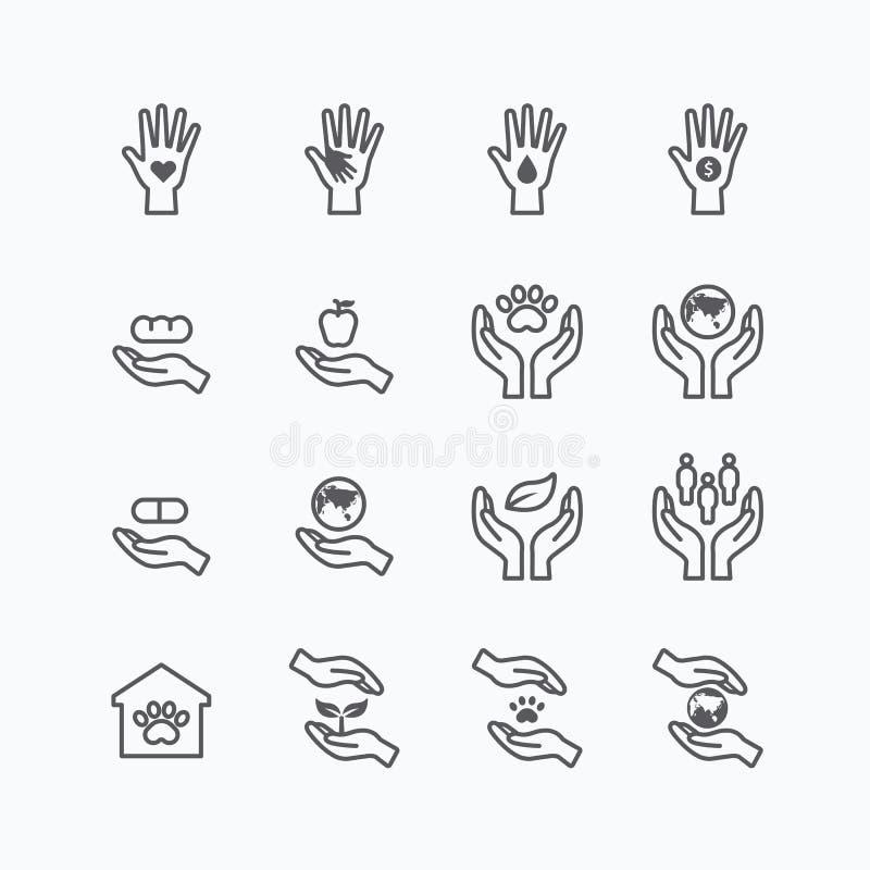 La ligne plate d'icônes de silhouette de charité et de donation conçoivent le vecteur illustration libre de droits