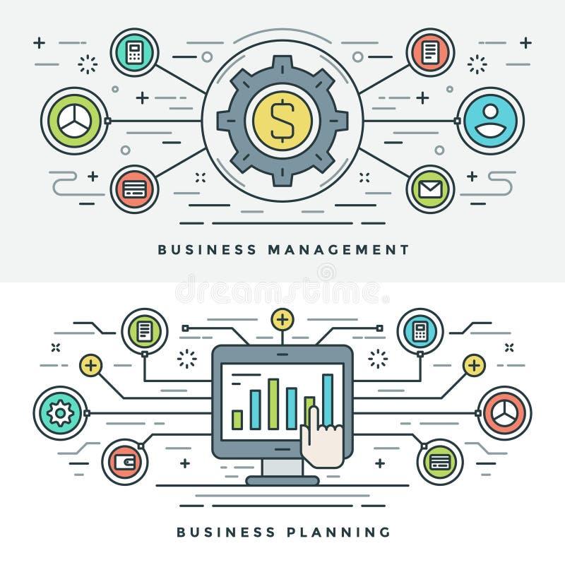 La ligne plate gestion d'entreprise et concept de planification dirigent l'illustration illustration libre de droits