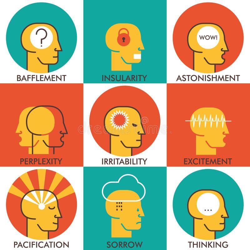 La ligne plate icônes a placé, les icônes humaines d'émotions Concept moderne de collection de pictogramme de vecteur Conception  photos stock