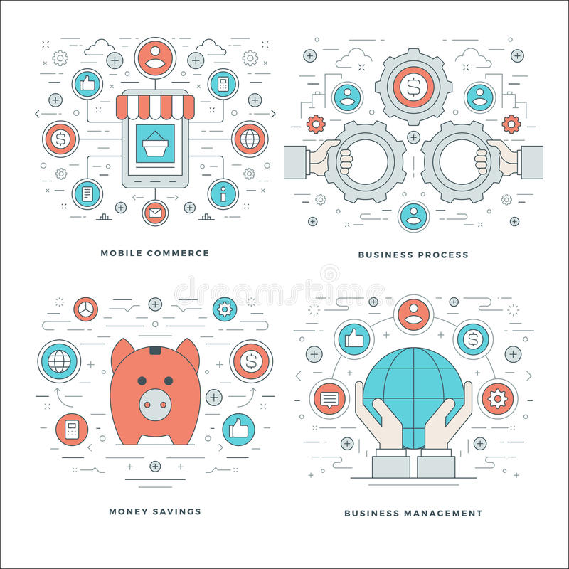 La ligne plate l'épargne d'argent, achats d'Internet, paiements mobiles, concepts de processus d'affaires a placé des illustratio illustration de vecteur