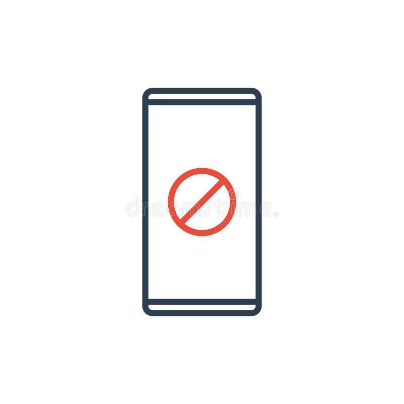La ligne simple aucun téléphone portable se connectent le fond blanc Vecteur illustration de vecteur