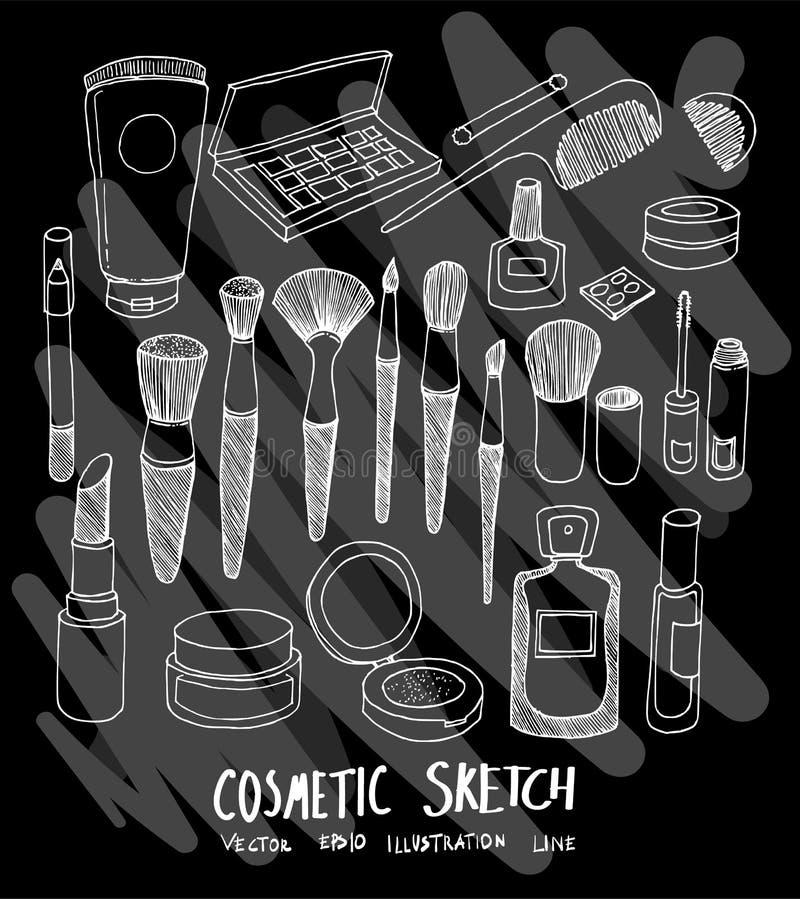 La ligne tirée par la main icône cosmétique de griffonnage de boutique a placé sur Chalkboa illustration stock