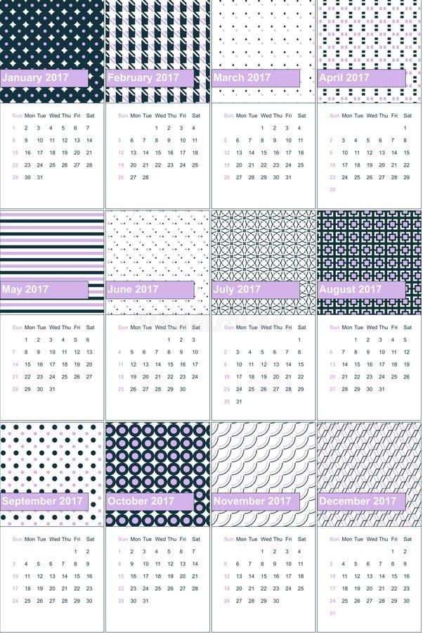 La lila y el elefante franceses colorearon el calendario geométrico 2016 de los modelos libre illustration