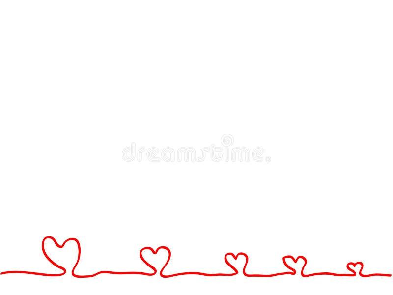 La linea continua mano che disegna i cuori rossi firma l'elemento immagini stock