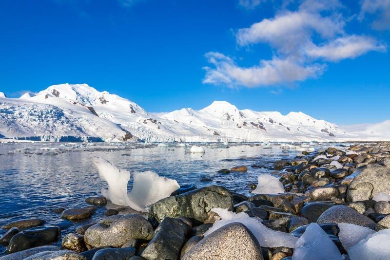 La linea costiera con le pietre ed il freddo ancora innaffia del ritardo antartico del mare fotografia stock