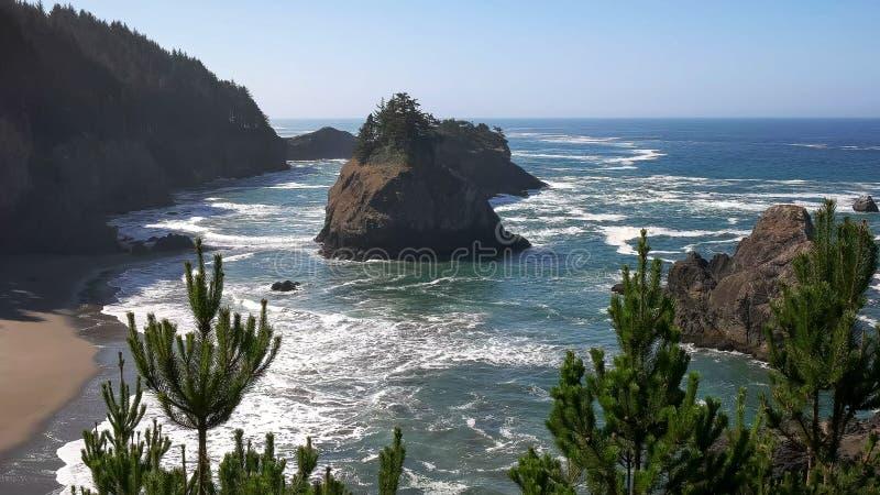 La linea costiera dell'Oregon alla roccia dell'arco, baia del depoe fotografia stock libera da diritti