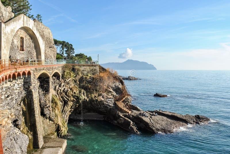 La linea costiera in Nervi, un distretto del mare di Genova fotografia stock libera da diritti