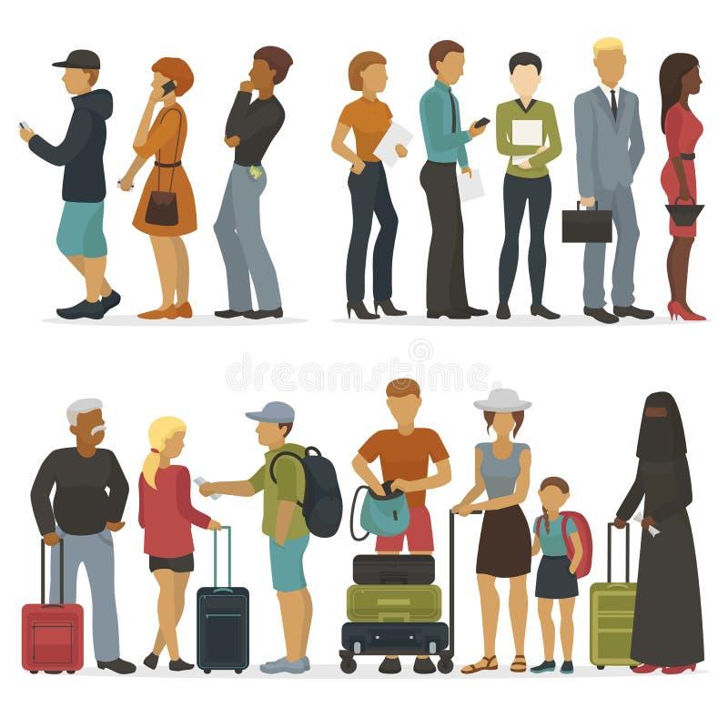 La linea di caratteri dei giovani mentre aspettano il loro giro per l'intervista o il viaggio vector l'illustrazione illustrazione vettoriale