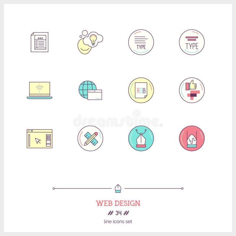 La linea di colore insieme dell'icona del processo della progettazione di web design obietta UI ed U illustrazione di stock