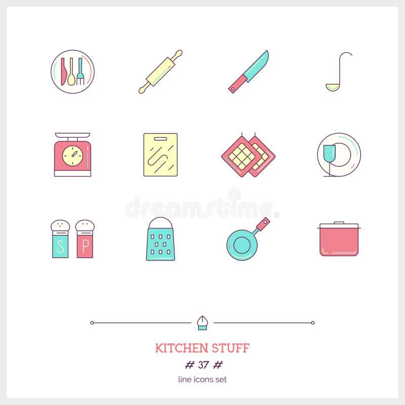 La linea di colore insieme dell'icona della roba di cucina obietta Icone di logo illustrazione di stock