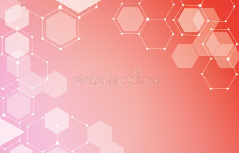 La linea di esagono collega Dots Geometric Composition Background royalty illustrazione gratis