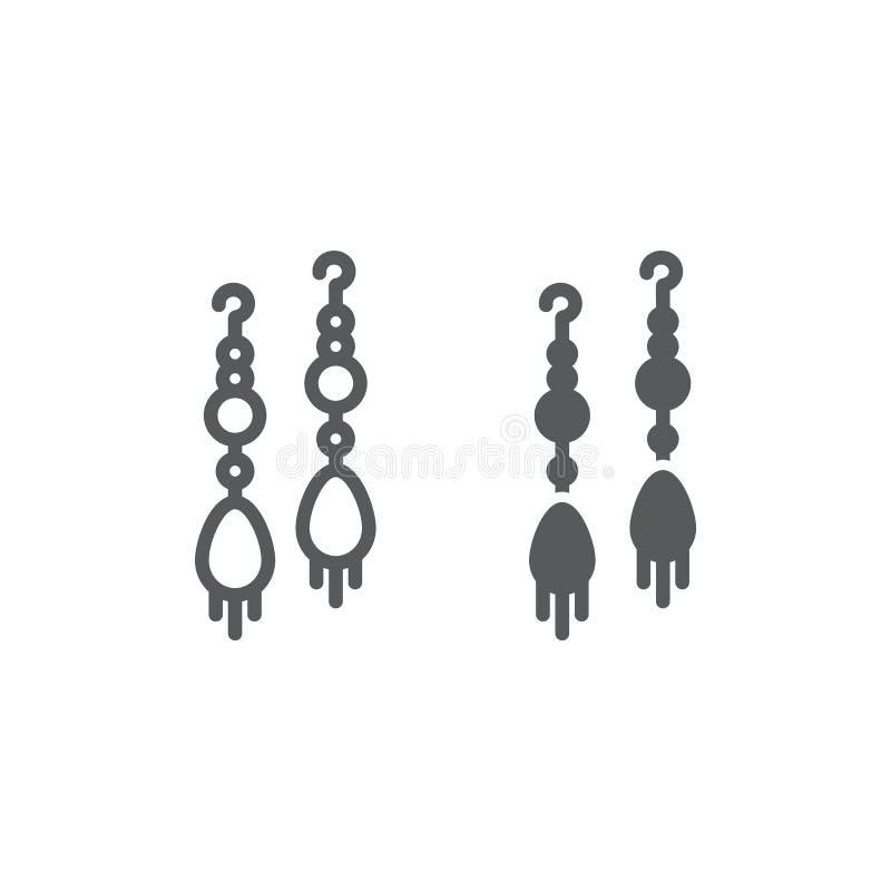 La linea di paia dell'orecchino e l'icona di glifo, i gioielli e l'accessorio, orecchini lunghi firmano, grafica vettoriale, un m illustrazione vettoriale