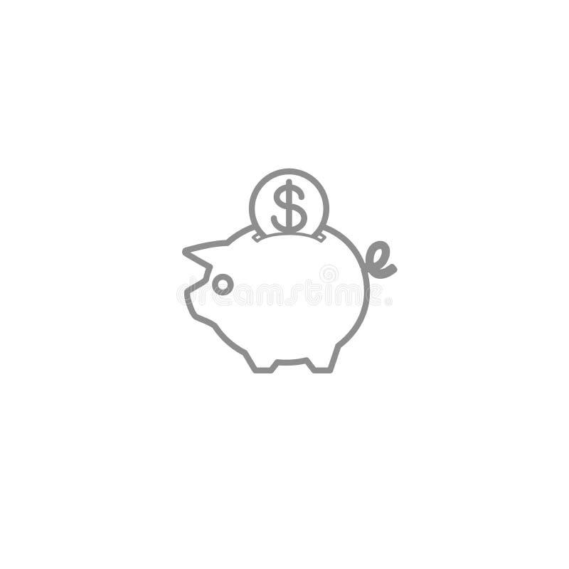 La linea di porcellino salvadanaio assottiglia l'icona Investimento, deposito ed illustrazione finanziaria di vettore illustrazione di stock