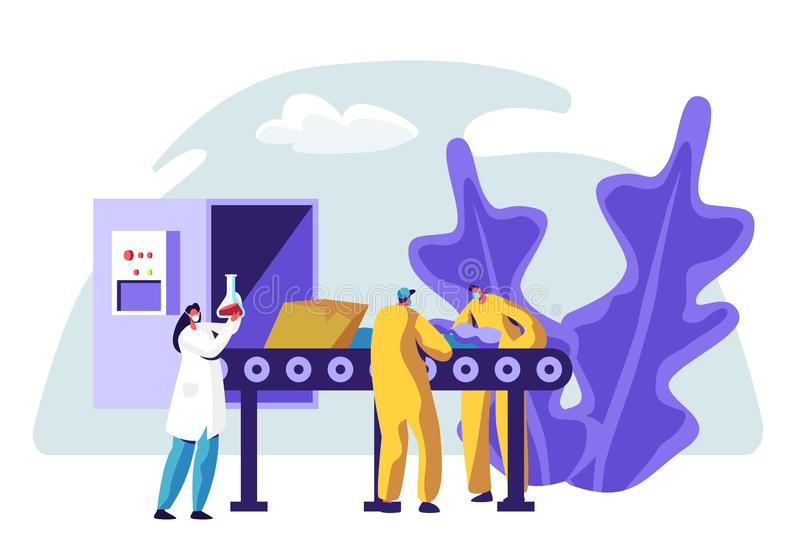 La linea di produzione della fabbrica dei rifiuti ricicla la separazione dell'immondizia Processo di riciclaggio industriale di s illustrazione di stock