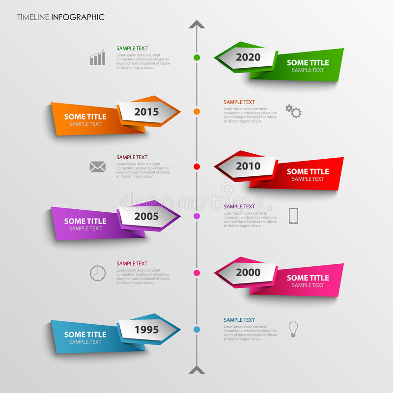 La linea di tempo grafico di informazioni con l'estratto ha colorato gli indicatori illustrazione vettoriale