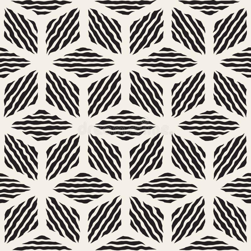 La linea dipinta a mano in bianco e nero senza cuciture rombo geometrico di vettore barra il modello illustrazione vettoriale