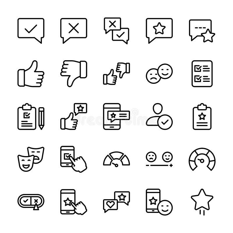 La linea emozionale icone della lista di controllo e di opinione imballa royalty illustrazione gratis