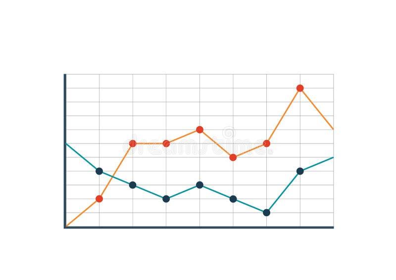 La linea grafico multicolore ha isolato un'immagine grafica di due curve illustrazione di stock
