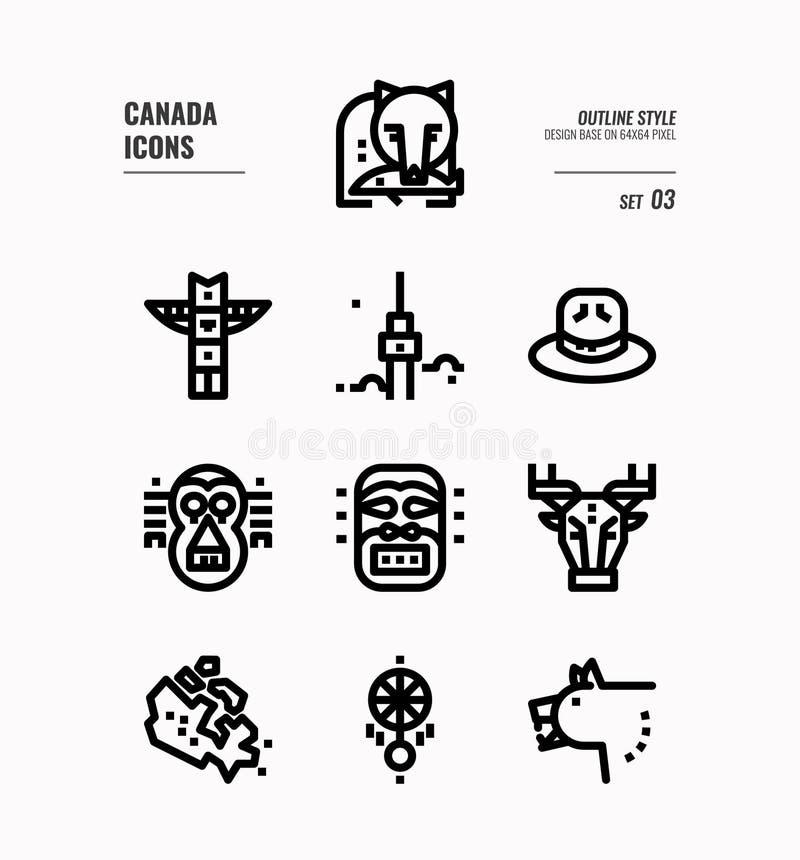 La linea icona del Canada ha messo 3 illustrazione vettoriale