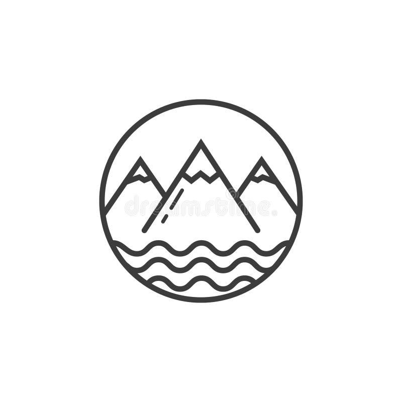 La linea icona di arte delle montagne e dello stagno ondeggia nel telaio rotondo illustrazione vettoriale