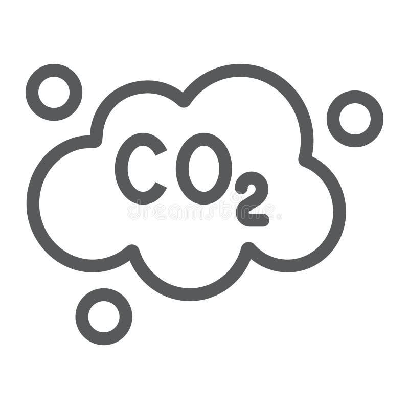 La linea icona di CO2 di inquinamento, l'ecologia ed il diossido, emissioni di CO2 si appannano il segno, la grafica vettoriale,  illustrazione di stock