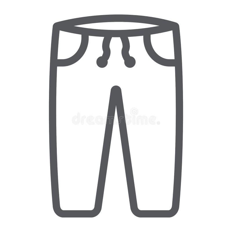 La linea icona di Sweatpants, i vestiti e lo sport, pantaloni firmano, grafica vettoriale, un modello lineare su un fondo bianco illustrazione vettoriale