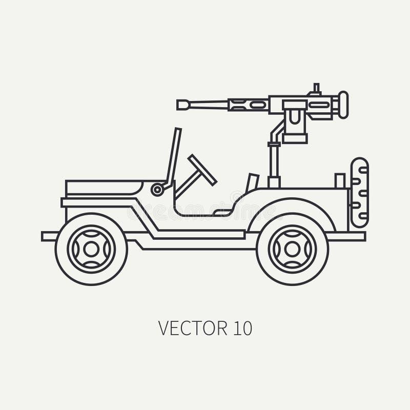 La linea icona di vettore della pianura piana ha armato la raccolta aperta dell'esercito del corpo Veicolo militare Stile dell'an illustrazione vettoriale