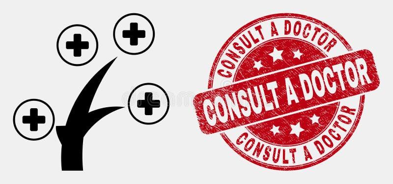 La linea icona ed emergenza mediche di vettore dell'albero consulta il dottore Stamp Seal royalty illustrazione gratis