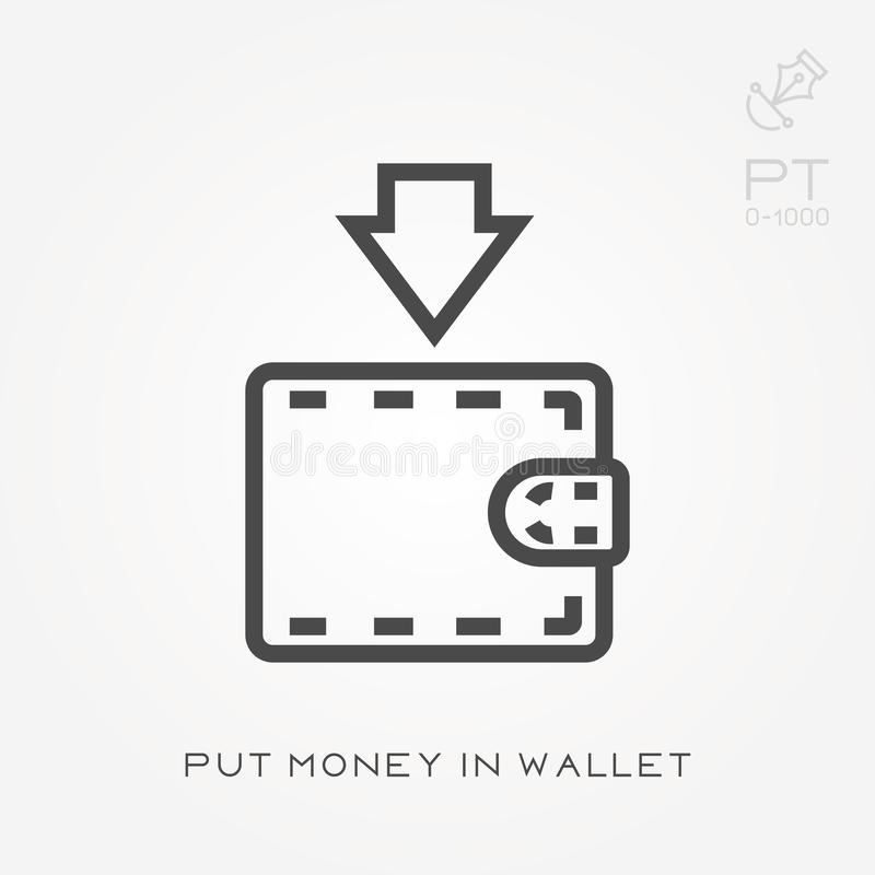 La linea icona ha messo i soldi in portafoglio illustrazione vettoriale