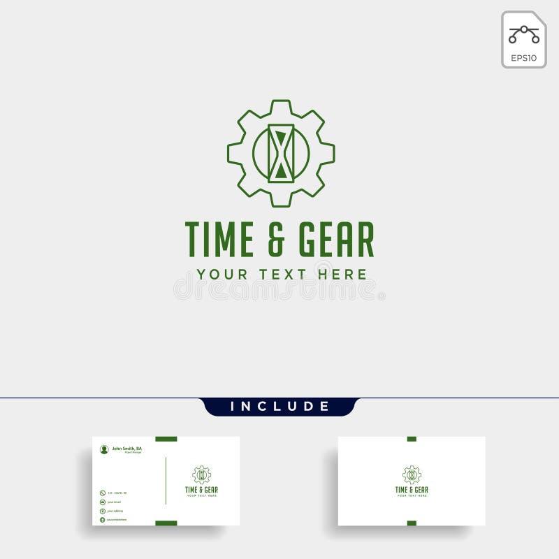 la linea icona industriale di logo di tempo dell'ingranaggio di vettore della gestione di progettazione ha isolato illustrazione di stock