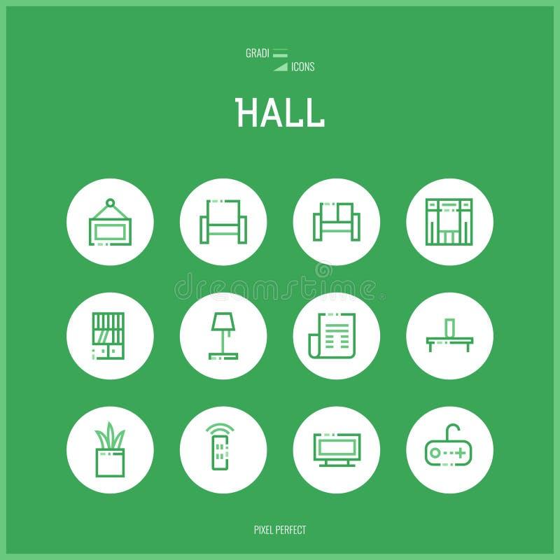 La linea icone del colorfuul ha messo del corridoio e dell'aula magna royalty illustrazione gratis