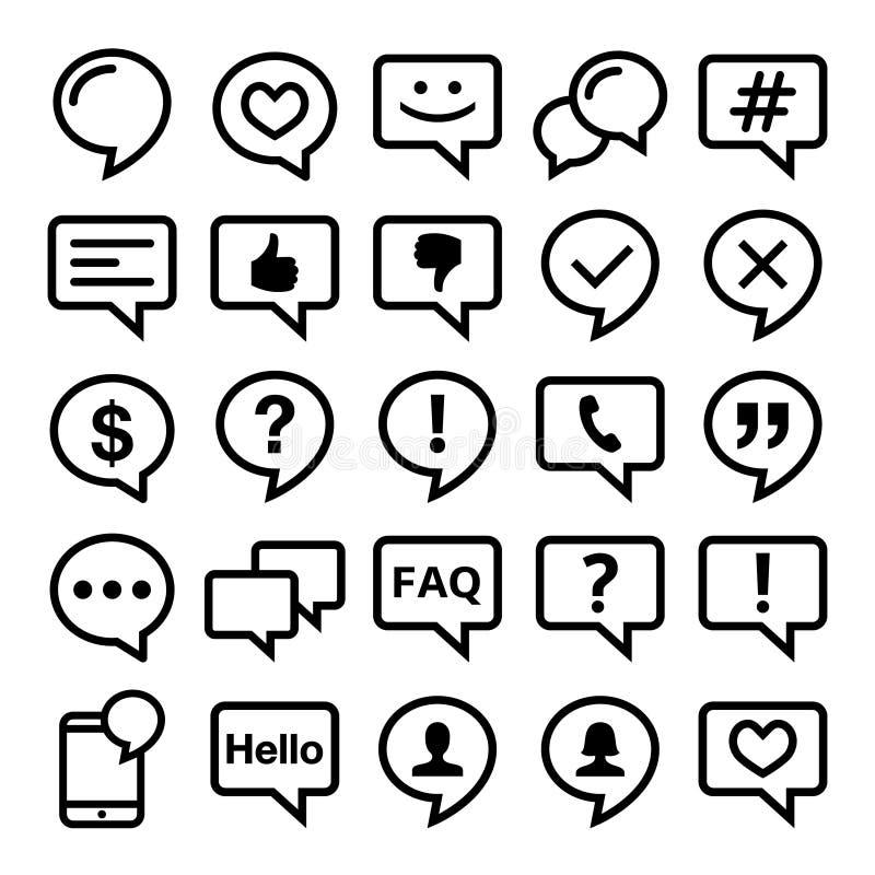 La linea icone del fumetto messe commenta, web, il blog, progettazione del contatto illustrazione vettoriale