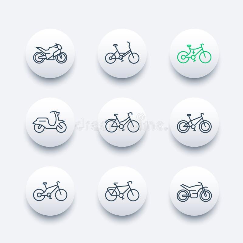 La linea icone delle bici ha messo, va in bicicletta, ciclando, motociclo, la motocicletta, la bici grassa, il motorino, la bici  illustrazione vettoriale